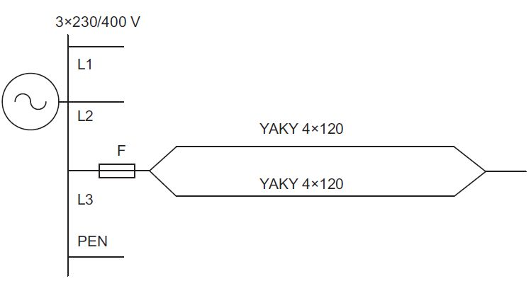 Zabezpieczenie przewodów połączonych równolegle