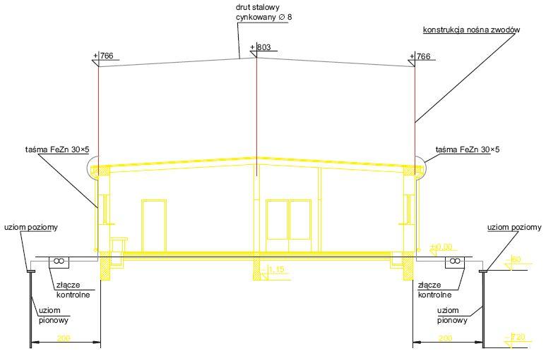 Uproszczony projekt instalacji odgromowej budynku akumulatorowni