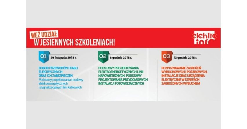 """Zapraszamy na szkolenia organizowane przez redakcję """"elektro.info"""""""