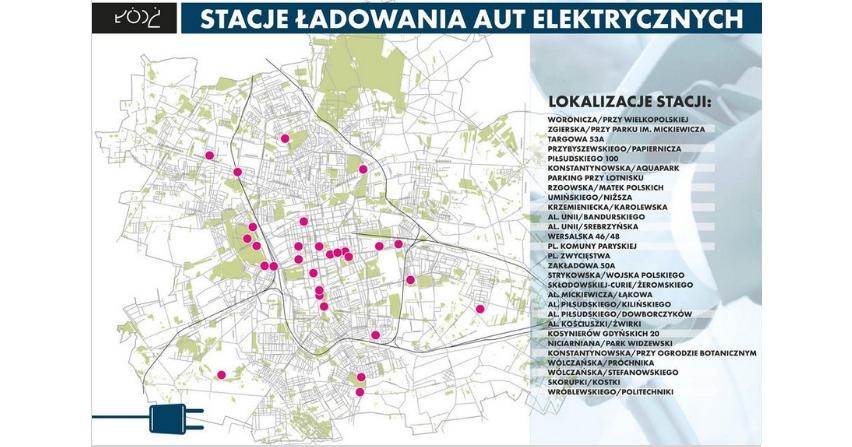 200 nowych punktów ładowania pojazdów elektrycznych w Łodzi