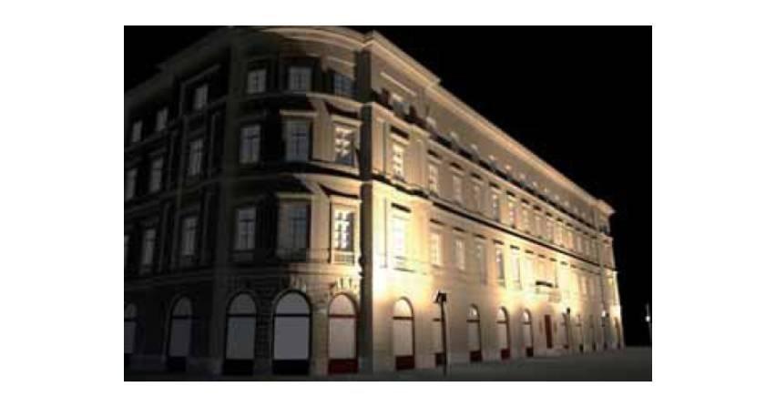 Uproszczony projekt oświetlenia zalewowego elewacji frontowej budynku