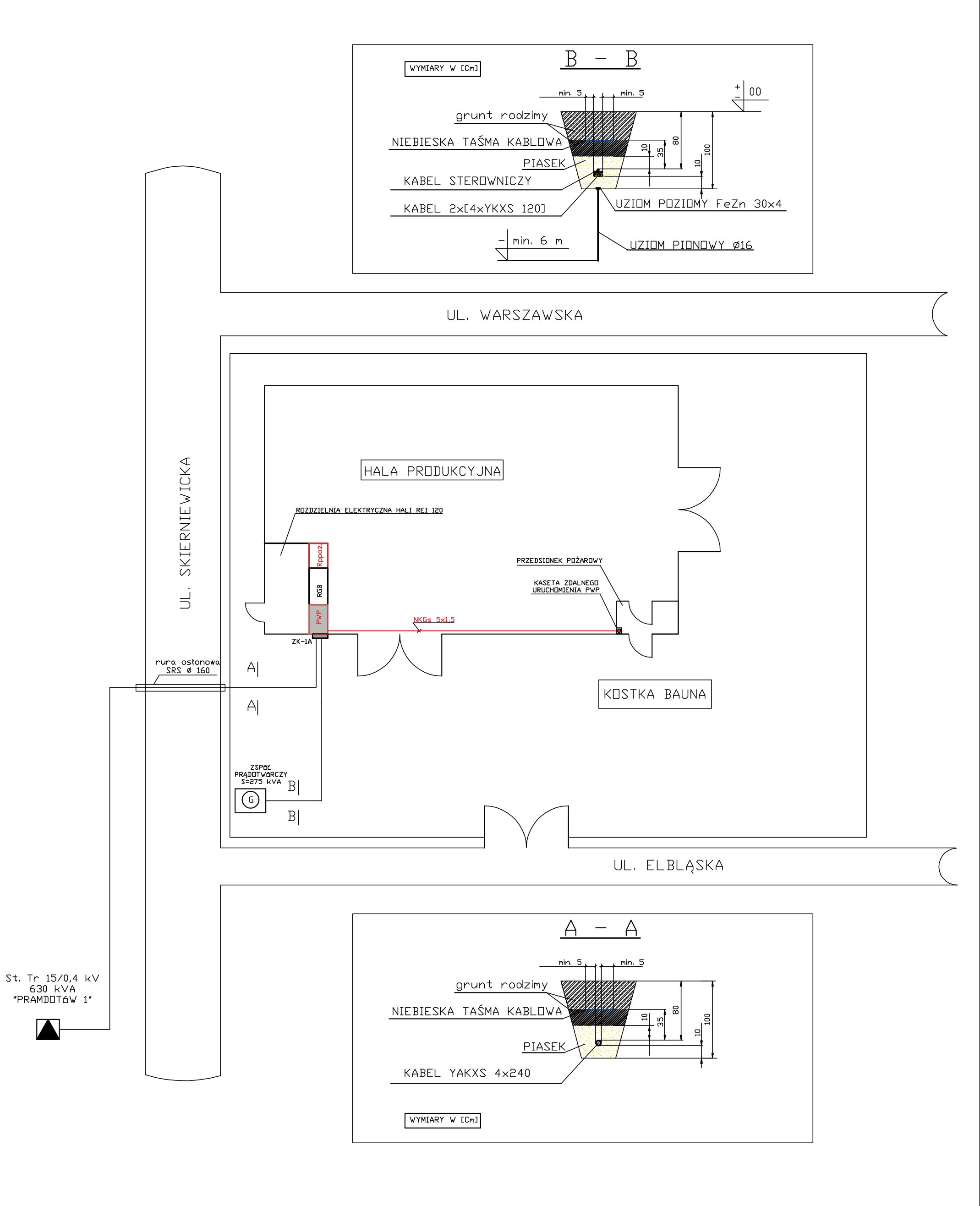 Uproszczony projekt zasilania hali produkcyjnej