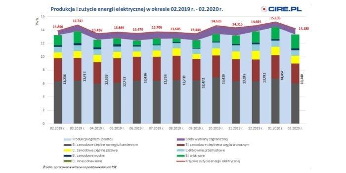 Wg PSE produkcja energii elektrycznej w Polsce w lutym wzrosła o 0,79 proc. rdr