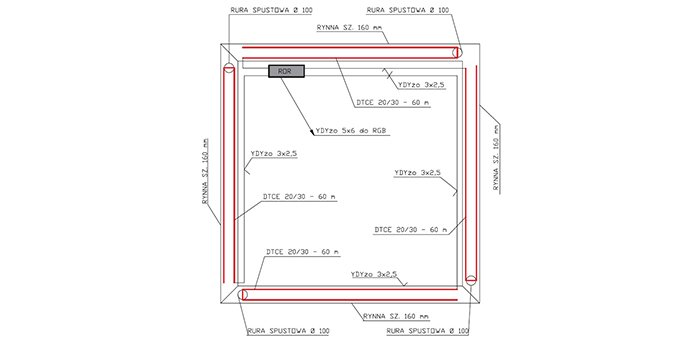 Uproszczony projekt sterowania ogrzewaniem przeciwoblodzeniowym rynien budynku