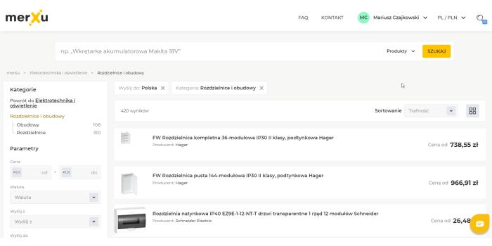 Wyłączniki różnicowoprądowe na platformie MerXu – rodzaje i zastosowanie