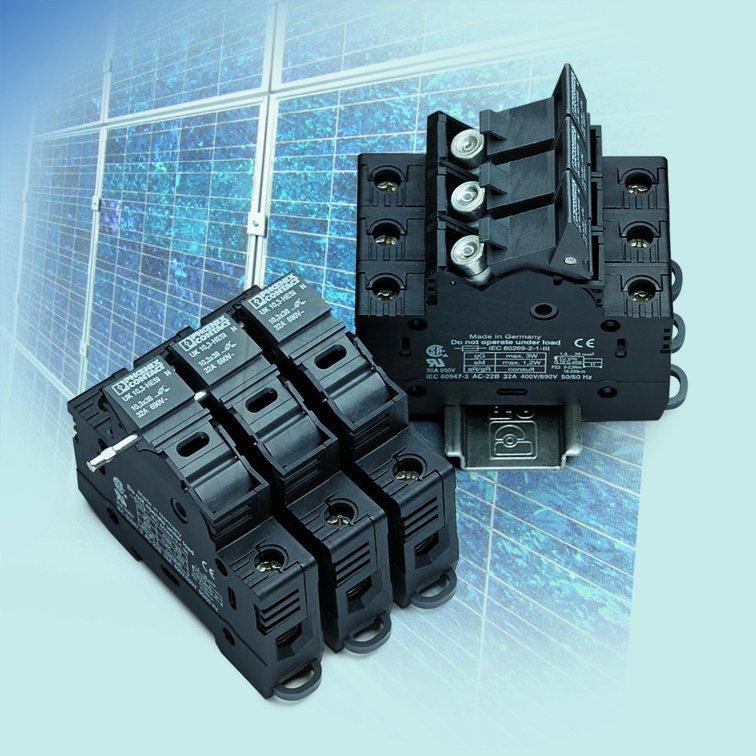 Podstawy bezpiecznikowe do wkładek topikowych cylindrycznych UK10,3-HESI1000 V