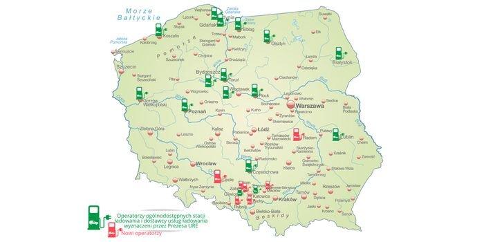 Prezes URE wyznaczył operatorów stacji ładowania  w kolejnych miastach