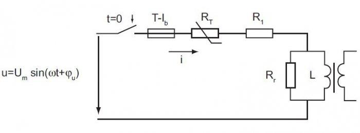 Schemat obwodu zasilania transformatora w stanie jałowym A. Przytuła