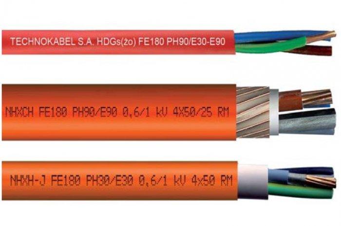 Przykłady kabli ognioodpornych produkcji TECHNOKABEL