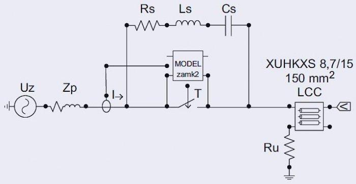 Rys. 4. Model obwodu do analiz procesów łączeniowych wykonany w programie EMTP-ATP