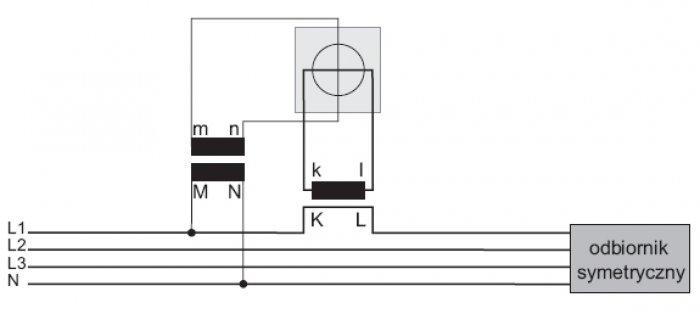 Układ do pomiaru energii elektrycznej z wykorzystaniem pojedynczego przekładnika prądowego i napięciowego