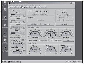 Rys. 3. Komputerowy monitoring parametrów elektrycznych obciążenia obiektów badań