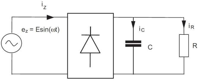 Rys. 6.  Obwód zastępczy układu z odbiornikiem w postaci diod LED z rysunku 4.