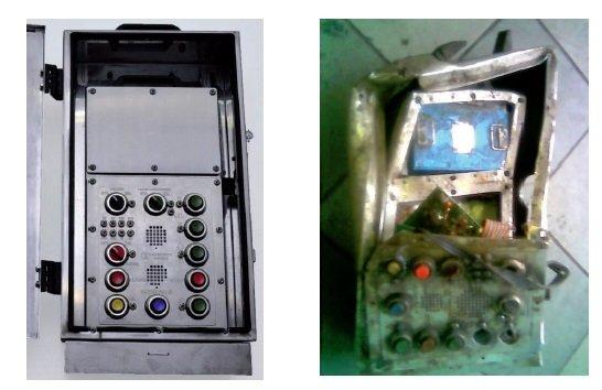 Urządzenie łączności szybowej: z lewej w pełni sprawne, z prawej uszkodzone Rys. redakcja EI