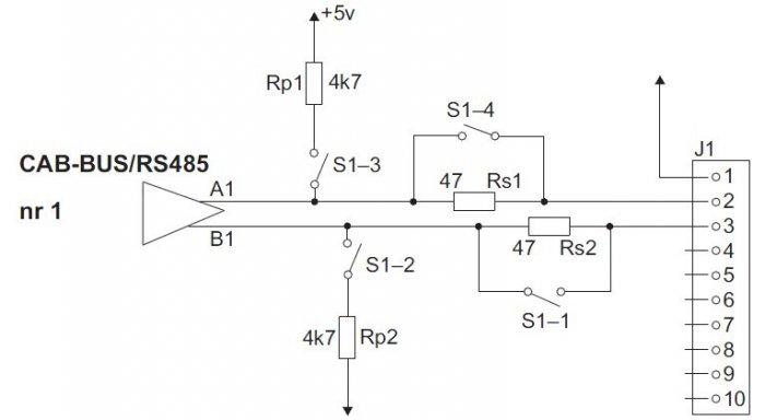 Rys. 1. Sposób przyłączania rezystorów polaryzujących i dopasowujących do magistrali CAN