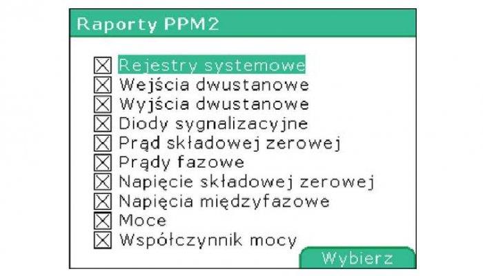 Rys. 3. Okno edycji typów wysyłanych raportów w urządzeniu Mupasz 710plus