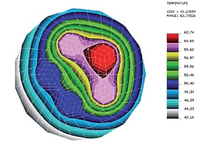 Rys. 1. Mapa rozkładu temperatury, w [°C], odosobnionego przewodu pięciożyłowego, o żyłach miedzianych o przekroju znamionowym 2,5 mm2, w izolacji i osłonie z polichlorku winylu (PVC), ułożonego w powietrzu, przy obciążonych trzech żyłach fazowych przewo.