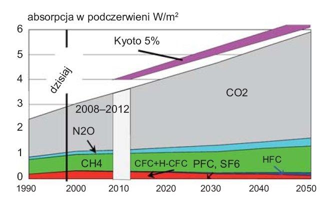 Rys.1. Wpływ gazów na efekt cieplarniany [3]
