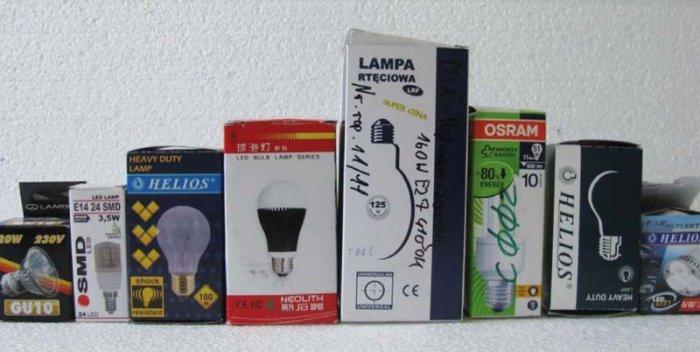Fot. 3. Fotografia wybranych opakowań źródeł światła biorących udział w pomiarach