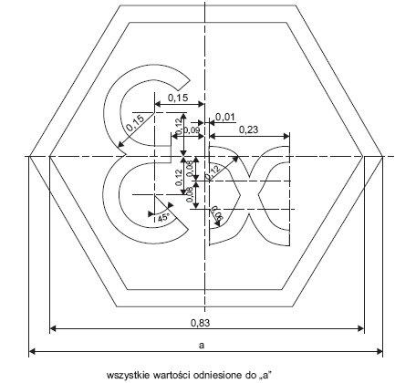 Rys.2. Kształt i wymiary oznaczenia symbolu Ex