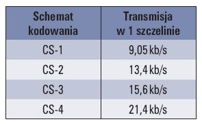 Tab. 1. Schematy kodowania FEC w sieci GPRS