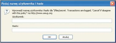 Fot. 4 Wprowadzanie nazwy użytkownika i hasła