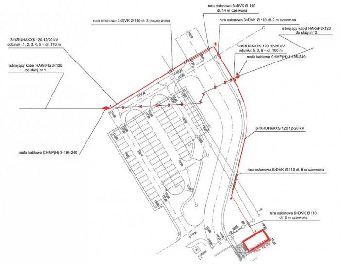 Rys. 1. Plan zagospodarowania terenu w rejonie projektowanej stacji transformatorowej