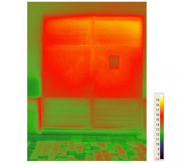 Fot. 1. Pomiar temperatury z użyciem kamery termowizyjnej przy drzwiach komory transformatora we wnętrzowej stacji transformatorowej