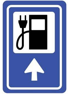 Rys.1. Znak drogowy oznaczający stację ładowania EV na terenie UE [14]