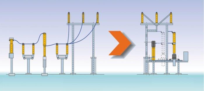 Rys.4. Idea pola modułowego z wyłącznikiem wysuwnym, gdzie: P – przekładnik, WM – wyłącznik, OL, OS – odłączniki liniowy i szynowy, OL´, OS´ – przerwy odłącznikowe liniowa i szynowa