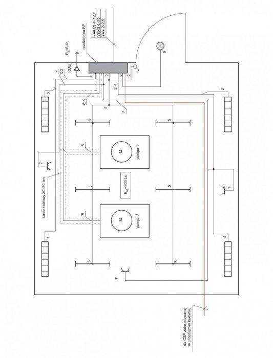 Rys. 5.  Plan instalacji elektrycznych pompowni