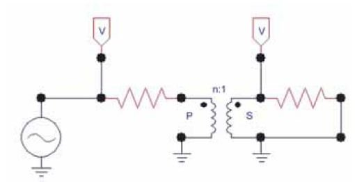 """Rys. 2 Przykładowy schemat obwodu z wykorzystaniem elementu """"Ideal 1 Phase"""""""