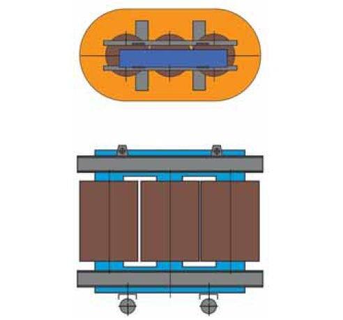 Rys. 8 Przekrój typowego transformatora z rdzeniem 3-kolumnowym [2]