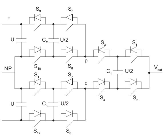 Rys. 9. Schemat gałęzi pięciopoziomowego przekształtnika typu ANPC