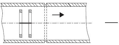 Rys.1. Przetwornik przelotowy wewnętrzny w rurce odniesienia z nieciągłością sztuczną (przedstawienie schematyczne)