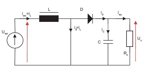 Rys.3. Obwody przepływu prądu przy zwartym kluczu S