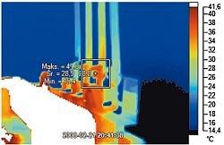 Fot. 2. Odpływ z transformatora SN/nn, strona niskiego napięcia. Skala temperatur: od 14°C, do 41°C