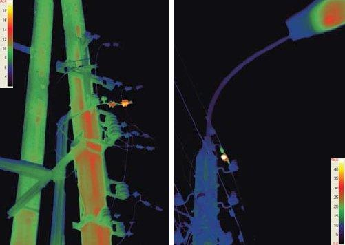 Fot. 2.   Zdjęcie w podczerwieni odpływów nn z napowietrznej stacji transformatorowej oraz słupa oświetleniowego