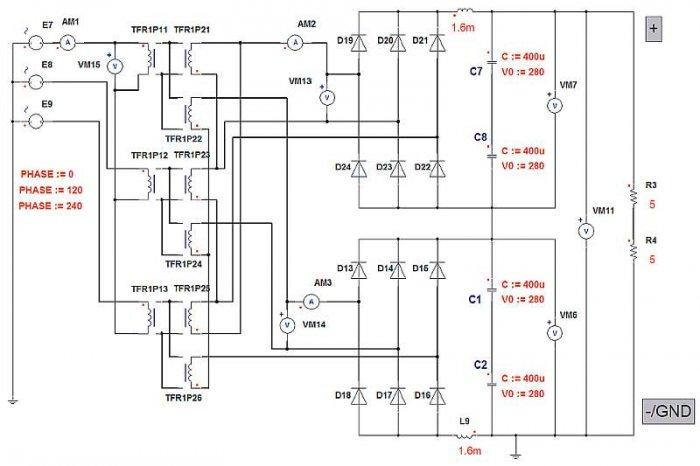 Rys. 2.  Model symulacyjny 12-pulsowego prostownika diodowego o mocy 30kW obciążonego prądem nominalnym i zasilanego z transformatora trójuzwojeniowego typu Yyd