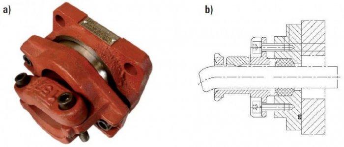 Rys. 2. Wpusty kablowe budowy Exd przeznaczone są do wprowadzenia kabli lub przewodów elektrycznych do wnętrza osłony ognioszczelnej produkcji firmy Damel S.A.: a) widok ogólny, b) przekrój