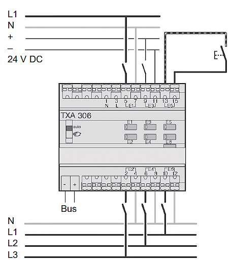 Rys. 5.  Wejście binarne 6 kanałowe w systemie KNX [2]