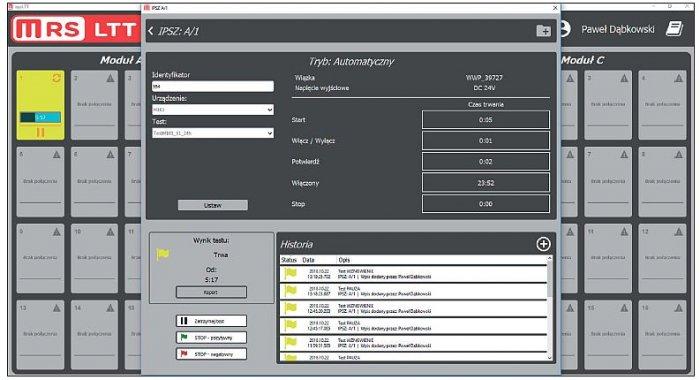Rys. 2. Widok główny aplikacji do testowania urządzeń elektronicznych wykorzystującej proponowany algorytm
