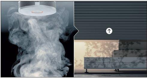 Gira czujka dymu KNX rozpoznaje pożar, zanim stężenie dymu lub temperatura zaczną zagrażać życiu. Powiadamia odpowiednie służby i wysyła polecenia sterownicze do instalacji