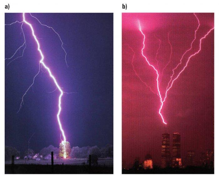 Rys. 2.  Przykładowe zdjęcia wyładowań piorunowych: a) obraz kanału wyładowania piorunowego, b) obraz rozwijającego się wyładowania dodatniego