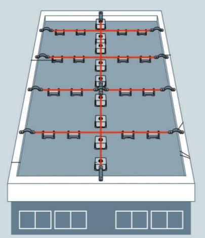 Rys. 6.  Obrazowy przykład rozmieszczania zwodów poziomych metodą oczkową