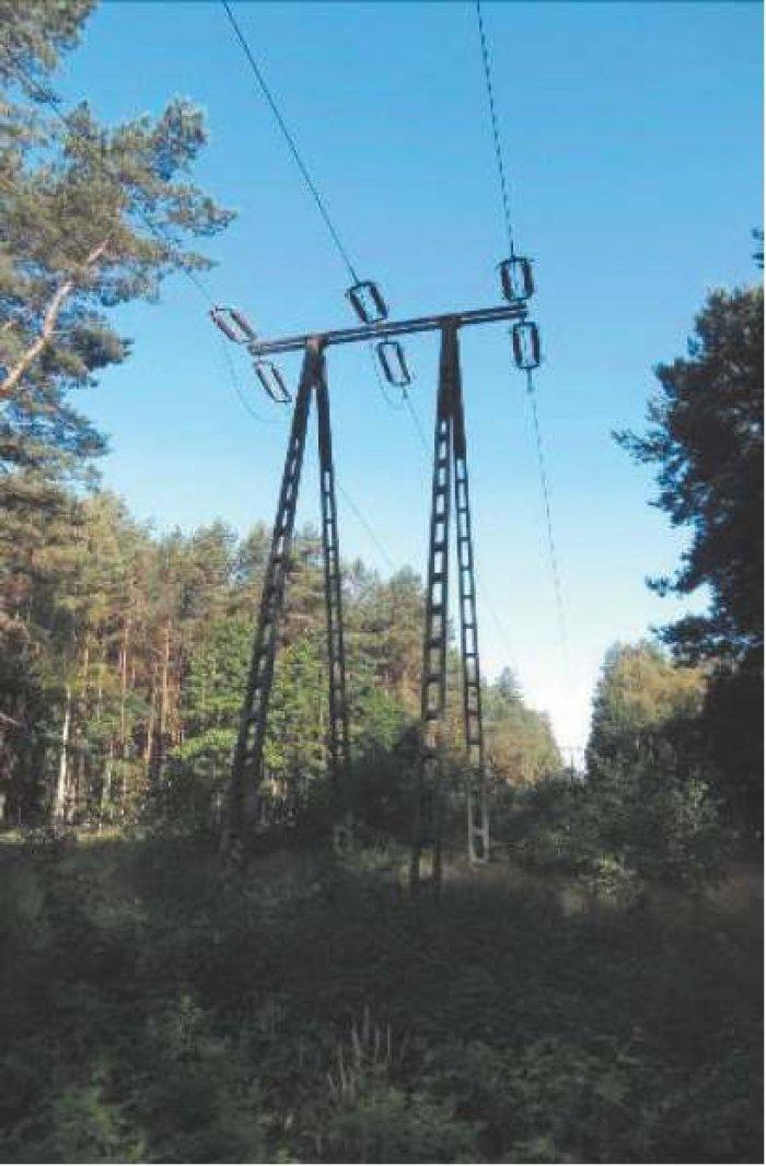 Fot. 2. Widok konstrukcji wsporczych linii 110 kV: b) stanowisko funkcyjne odporowe