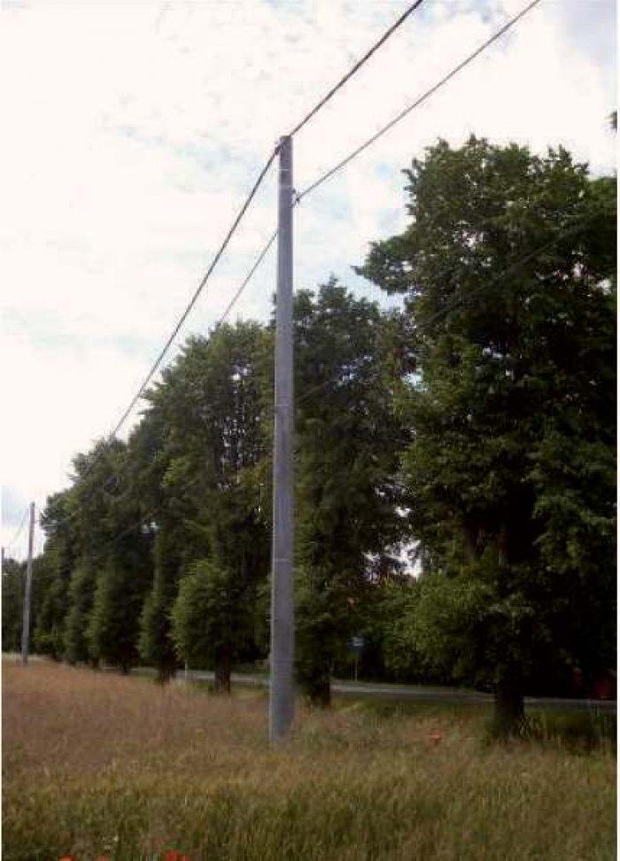 """Fot. 5. Linie dwunapięciowe na wspólnych konstrukcjach wsporczych: b) linia średniego napięcia wykonana kablem """"uniwersalnym"""" (górny przewód) i niskiego napięcia przewodem izolowanym (przewód na dole)"""