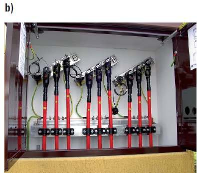 Fot. 11b. Złącza kablowe średniego napięcia z głowicami kablowymi przyłączonymi do szyny w złączu [3]