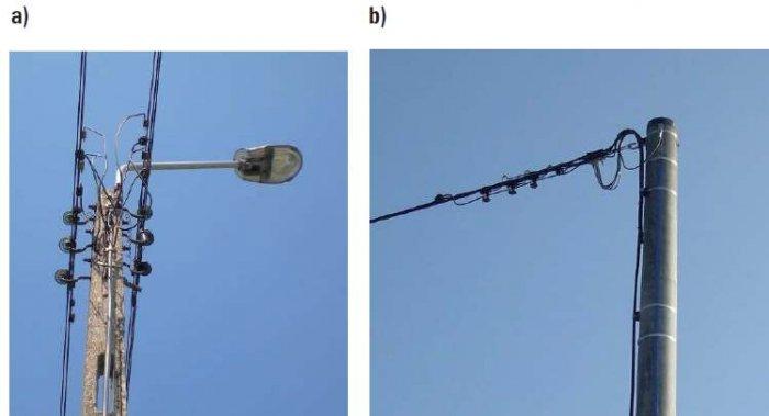 Fot. 13. Stanowiska słupowe linii niskiego napięcia z kablami: a) linia z przewodami gołymi, b) linia z przewodami izolowanymi