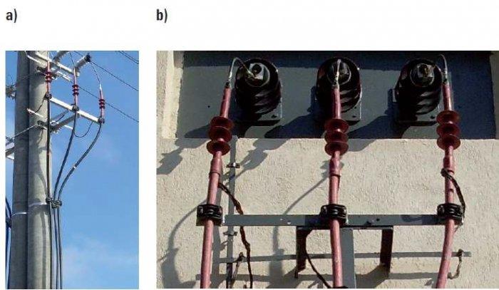 Fot. 6. Kable średniego napięcia o izolacji wytłaczanej z polietylenu (trzy kable stanowią jeden tor linii): a) z powłoką koloru czarnego, b) z powłoką koloru czerwonego